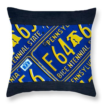 Pennsylvania State License Plate Map Throw Pillow by Design Turnpike
