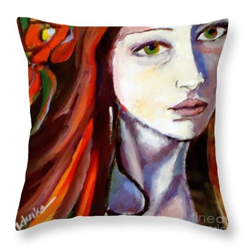Pensive Lady Throw Pillow by Helena Wierzbicki