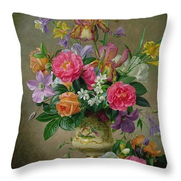 Peonies And Irises In A Ceramic Vase Throw Pillow by Albert Williams