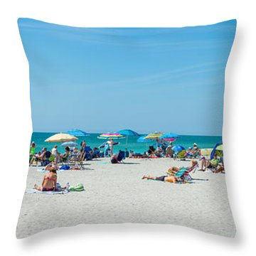 People On The Beach, Venice Beach, Gulf Throw Pillow by Panoramic Images