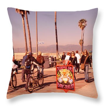 People Walking On The Sidewalk, Venice Throw Pillow by Panoramic Images