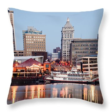 Peoria Illinois Skyline Throw Pillow by Paul Velgos