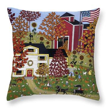Percy's Pumpkin Patch Throw Pillow by Medana Gabbard