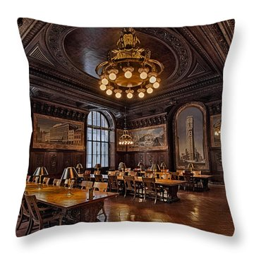 Periodicals Room New York Public Library Throw Pillow by Susan Candelario