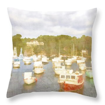 Perkins Cove Lobster Boats Maine Throw Pillow by Carol Leigh