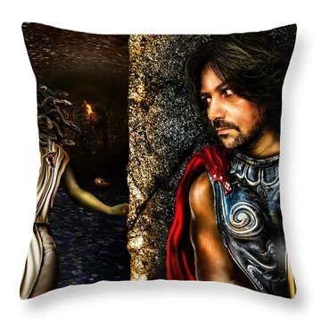 Perseus And Medusa Throw Pillow by Alessandro Della Pietra