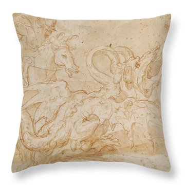 Perseus Rescuing Andromeda Red Chalk On Paper Throw Pillow by or Zuccaro, Federico Zuccari