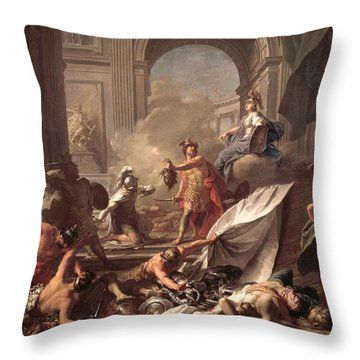 Perseus, Under The Protection Of Minerva, Turns Phineus To Stone By Brandishing The Head Of Medusa Throw Pillow by Jean-Marc Nattier