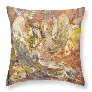 Persian Lady Playing Chang Throw Pillow by Persian Art