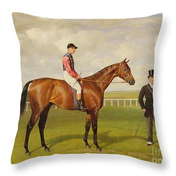 Persimmon Winner Of The 1896 Derby Throw Pillow by Emil Adam