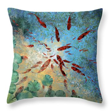 Koi Rotanti Throw Pillow by Guido Borelli