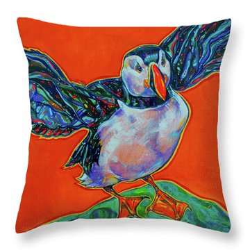 Petty Harbour Puffin Throw Pillow by Derrick Higgins