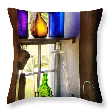 Pharmacy - Colorful Glassware  Throw Pillow by Mike Savad