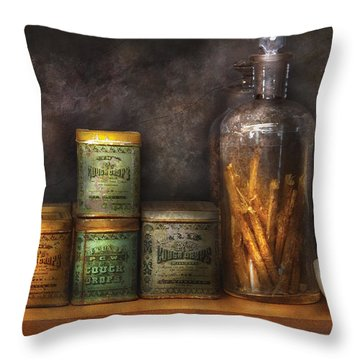 Pharmacy - Cough Drops And Kidney Pills Throw Pillow by Mike Savad
