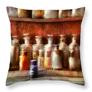Pharmacy - The Medicine Counter Throw Pillow by Mike Savad