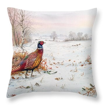 Pheasant And Bramblefinch In The Snow Throw Pillow by Carl Donner