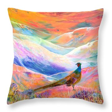 Pheasant Moon Throw Pillow by Jane Small