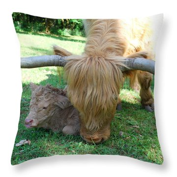 Pheona And Buffie Throw Pillow by Kathy Sampson