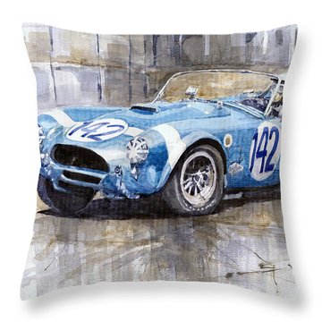Phil Hill Ac Cobra-ford Targa Florio 1964 Throw Pillow by Yuriy Shevchuk