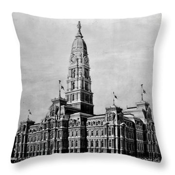 Philadelphia City Hall Throw Pillow by Benjamin Yeager