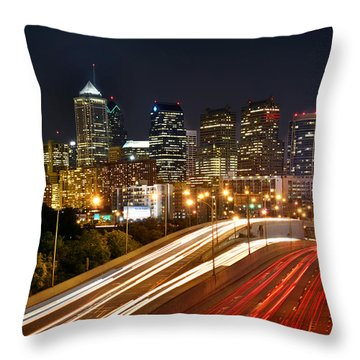 Philadelphia Skyline At Night In Color Car Light Trails Throw Pillow by Jon Holiday