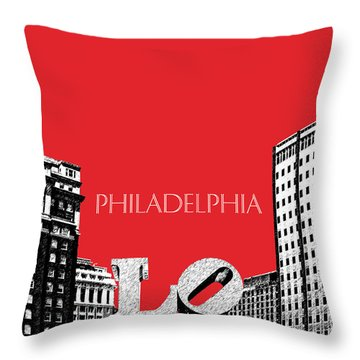 Philadelphia Skyline Love Park - Red Throw Pillow by DB Artist
