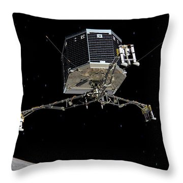 Throw Pillow featuring the photograph Philae Lander Descending To Comet 67pc-g by Science Source