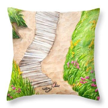 Philbin Beach Path Throw Pillow by Michelle Wiarda
