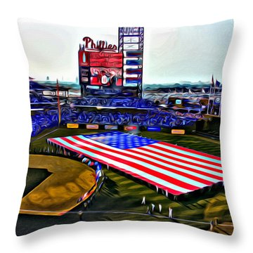 Phillies American Throw Pillow by Alice Gipson