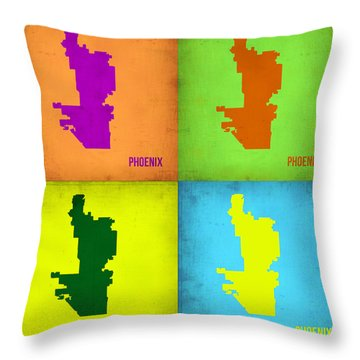 Phoenix Pop Art Map Throw Pillow by Naxart Studio