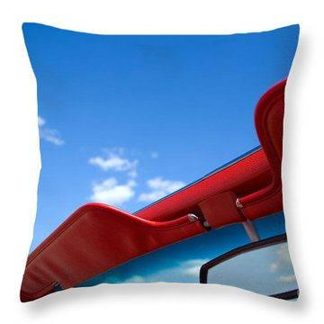 Photo Of Convertible Car And Blue Sky Throw Pillow by Paul Velgos