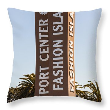 Photo Of Fashion Island Sign In Newport Beach Throw Pillow by Paul Velgos