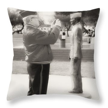 Photographing Ira Hayes Throw Pillow by Hugh Smith