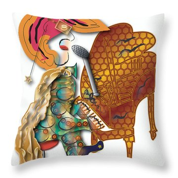 Piano Man Throw Pillow by Marvin Blaine