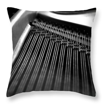 Piano Strings Throw Pillow by Tim Hester