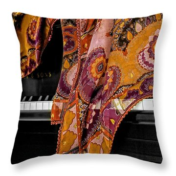 Piano With Scarf Throw Pillow by Madeline Ellis