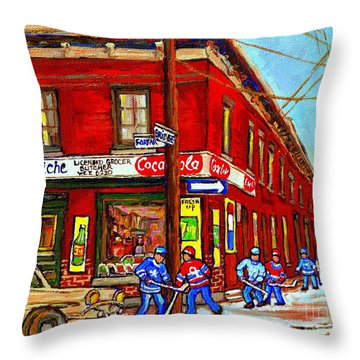 Piche's Grocery Store Bridge Street And Forfar Goosevillage Montreal Memories By Carole Spandau Throw Pillow by Carole Spandau