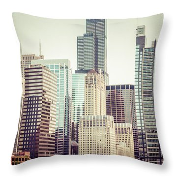 Picture Of Vintage Chicago With Sears Willis Tower Throw Pillow by Paul Velgos