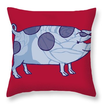 Piddle Valley Pig Throw Pillow by Sarah Hough