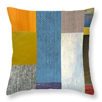 Pieces Parts Ll Throw Pillow by Michelle Calkins