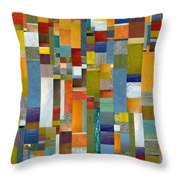 Pieces Parts Vl Throw Pillow by Michelle Calkins