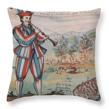 Pied Piper Of Hamelin, German Legend Throw Pillow by Photo Researchers