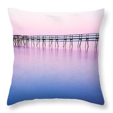 Pier On Lake Winnipeg Throw Pillow by Ken Gillespie