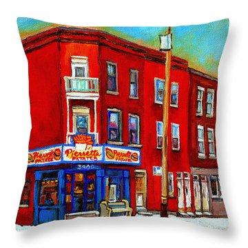 Pierrette Patates 3900 Verdun Restaurant Montreal Streets And Shops City Of Verdun Art Work Scenes Throw Pillow by Carole Spandau