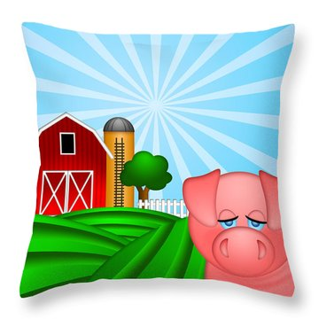 Pig On Green Pasture With Red Barn With Grain Silo  Throw Pillow by JPLDesigns