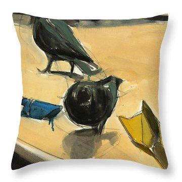 Pigeons Throw Pillow by Daniel Clarke