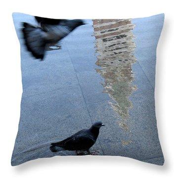 Pigeons In Piazza San Marco. Venice. Italy. Throw Pillow by Bernard Jaubert
