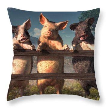 Pigs On A Fence Throw Pillow by Daniel Eskridge