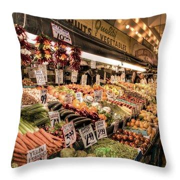 Pike Place Veggies Throw Pillow by Spencer McDonald
