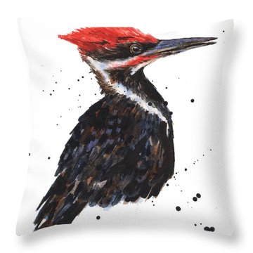 Pileated Woodpecker Watercolor Throw Pillow by Alison Fennell